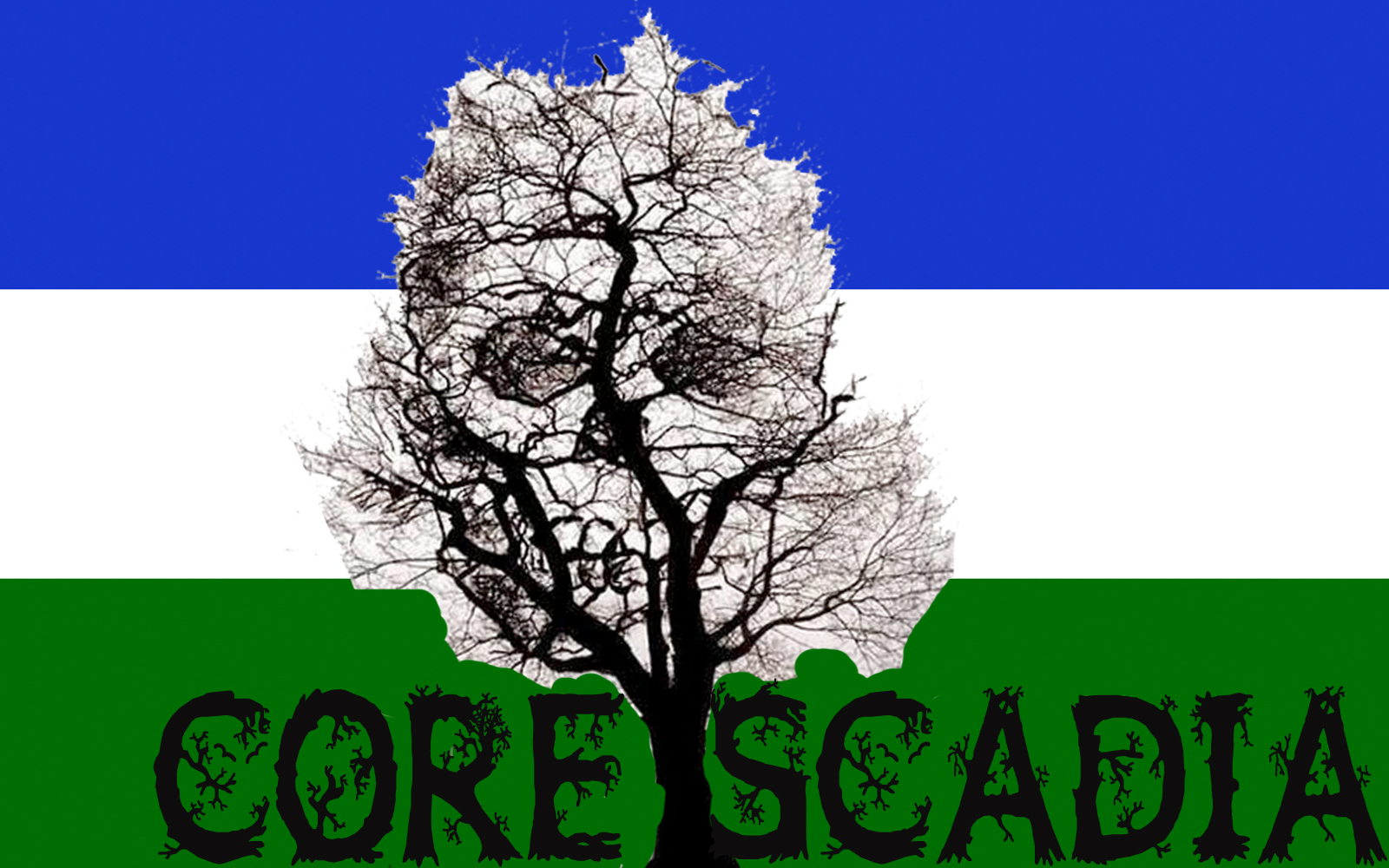 Cascadian flag with skull tree
